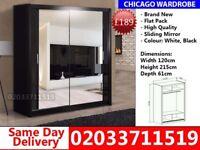 Brand New Chicago 120 cm Wide Sliding Mirror Wardrobe get your order today Miami