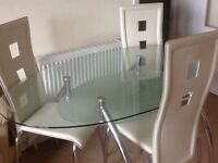 Glass Oval Table and chairs