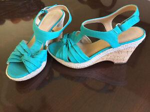 Teal coloured sandals