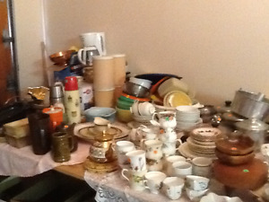 Lots of kitchen and dining wares, estate garage sale