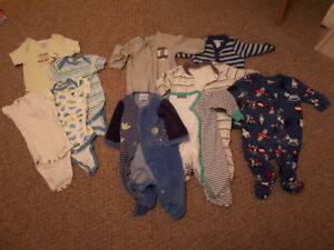 Baby boy 4 bodysuits and 6 sleepers - 0 to 3 months