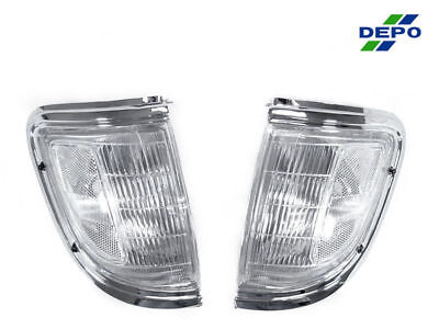 - DEPO Front Chrome & Clear Corner Lights Lamps Fit For 95 96 Toyota Tacoma 2WD