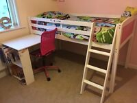 Girls pink white cabin single midsleeper bed desk