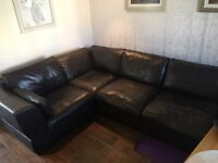Brown Leather Corner Suite with Matching Arm Chair and Footstool