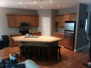 Cinnamon Maple Kitchen Cabinets & Butcher Block Island Top