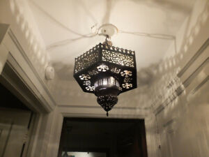 Vintage Moroccan-style metal pendant lamp