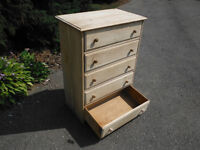 5 drawer solid wood unfinished ready for paint or stain,