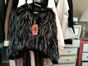 Cute ladies faux fur jacket