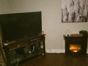 Eectronic fire place , Tv stand ,50 inch RCA tv, kitchen stand..