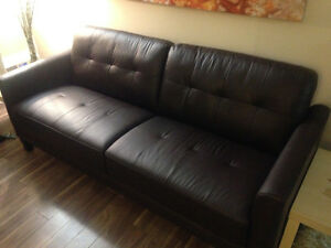 GENUINE LEATHER SOFA, Dark Brown, 1 month old!