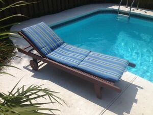 wooden pool lounger
