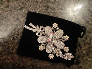 Large Crystal Statement Brooch 4 inches long- 2 inches wide