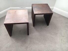 Solid dark wood Kubek handmade bed side ornament tables
