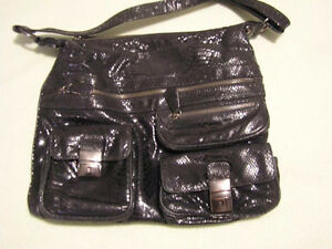 Ladies Black Paten Shoulder Bag, etc