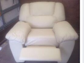 Leather Cream Reclining Armchair