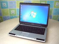 "Fully working order - Toshiba laptop big 15"" Screen - Very fast - Wifi - DVD-RW - Antivirus - Office"