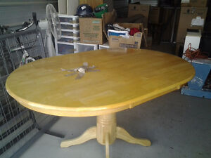 Light oak oval table 4 chairs