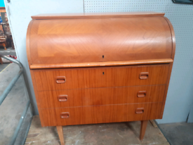 Retro vintage mid century roll top desk bureau