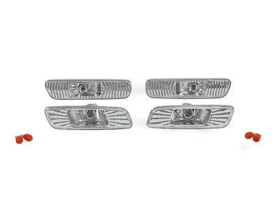 (Euro Chrome Clear Front+Rear Bumper Side Marker Lights For 2000-2005 Lexus IS300)