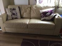Cream leather sofa settee/bed