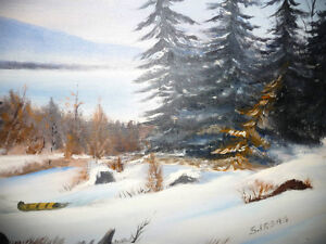 """Winter Trail"" Original Oil by S. Irsag Stratford Kitchener Area image 6"
