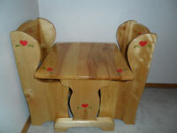 Solid wood child's Table and Chairs, handcrafted.
