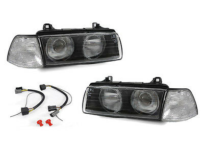 DEPO Glass Lens Projector Euro Headlight+Clear Corner Light For BMW E36 2D Coupe 3 Series 2d Coupe
