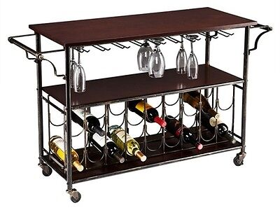 Southern Enterprises Rolden Wine/Bar Cart HZ2047 Wine Cart NEW
