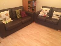 Brown leather sofas 2+3 seater