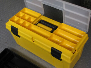 Large tool box and 17 pieces  of assorted tools just like new