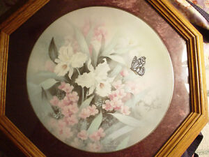 """Oak Framed Collector Plate """"White Orchids"""" by T. C. Chui"""