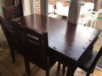 Sheesham Jali dining table with four chairs