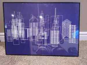 Architectural  blueprint style print with frame