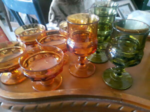 Vintage Amber and Green Dishes