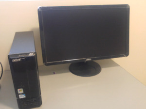 Acer desktop computer with monitor.