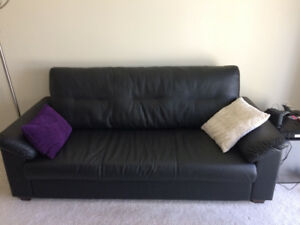 Black faux leather couch for sale