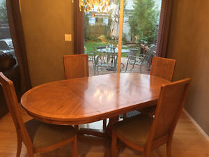Oak Dining Table and Chairs, Bar Stools