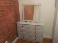 Dresser Commode with Mirror Repainted Grey