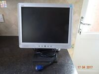 """A 15"""" LCD Computer Monitor complete with cables."""