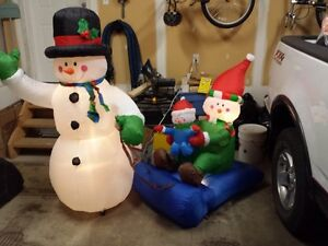 Snowman Outdoor Inflatable Decoration Strathcona County Edmonton Area image 1