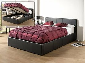 【LIMITED STOCK OFFER】4FT6 DOUBLE LEATHER OTTOMAN STORAGE BED IN BLACK/BROWN + MATTRESS BUNDLE OFFER