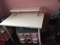 White Ikea computer table, work table with shelf