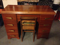 70's STYLE SINGER AND MAHOGANY DESK & CHAIR