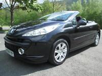 08/08 PEUGEOT 207 CC 1.6 SPORT IN MET BLACK WITH ONLY 53,000 MILES