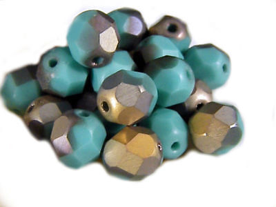 Matte Turquoise Apollo Gold Czech Fire Polished Round Glass Beads