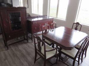 Solid wood antique hutch, buffet and dining table with 6 chairs