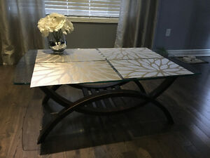 Glass Top Coffee Table and a Side Table for Sale