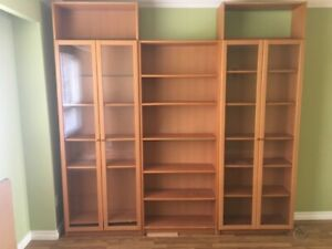 IKEA BILLY 3 PIECE GLASS DOOR SHELF CABINET UNIT