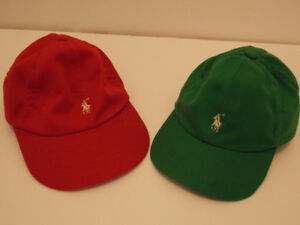 2 NEW  Ralph Lauren Cotton Hats (Red and Green)