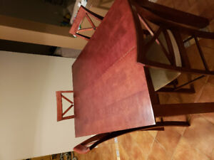 Wooden bar height table and chairs